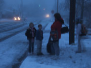 Jodie, Danielle, Timothy waiting for school bus, winter 2008