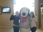 Michelle and Danielle with Snoopy at Knotts Berry Farm Hotel