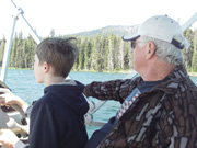Timothy Driving Boat, Diamond Lake Oregon