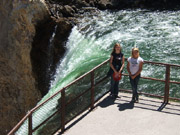 Michelle and friend Katie after hike to the top of Lower Yellowstone Falls