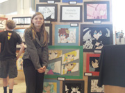 Michelle with her professional quality Anime Art at School Art Show
