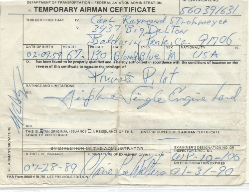 Claire Walters Temporary Airman Certificate Signature, Pilots License